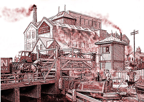 Stephenson's lifting bridge, Frog Island, Leicester, c. 1937, drawing by Roger Hutchinson