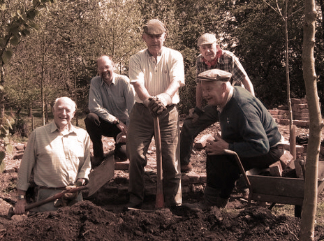 Califat colliery excavation site, LIHS diggers in Victorian labourer's dress
