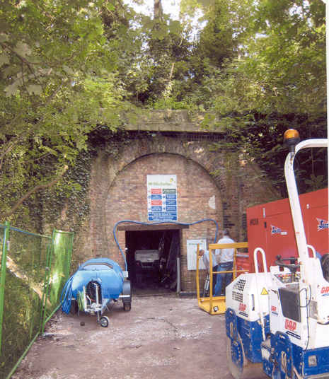 entrance to Glenfield Railway Tunnel during restoration work